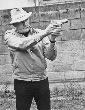 Jeff Cooper, Gunsite founder, showing the Weaver Stance