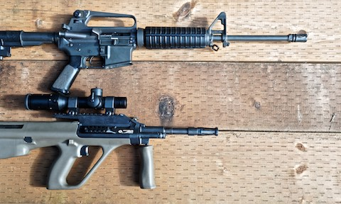 Steyr AUG is much shorter than AR-15 carbine